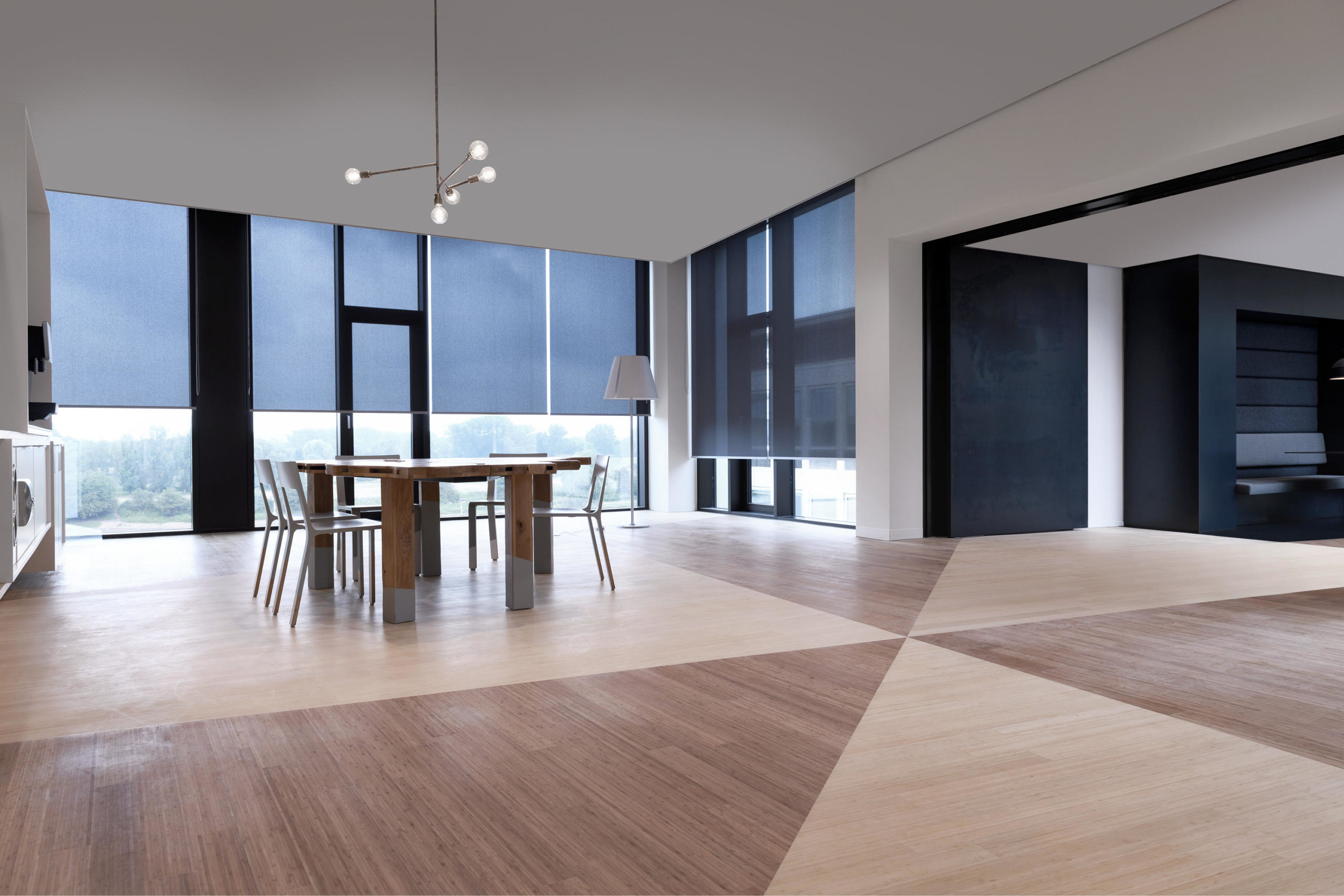 Room with coulisse motorised blinds in Ireland